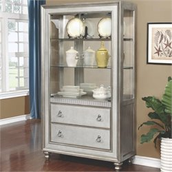 Coaster Bling Game 3 Drawer 2 Shelf Curio Cabinet in Metallic Platinum