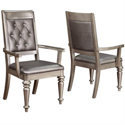 Coaster Danette Arm Dining Chair in Metallic Platinum