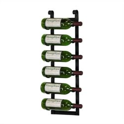 VintageView Wall Mount 6 Bottle Wine Rack in Rustic Black