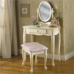 Powell Furniture Girl's Vanity with Mirror and Bench Set in Off-White