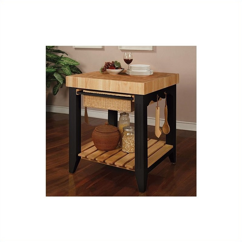 Powell Furniture Color Story Black Butcher Block Kitchen Island - 502-416