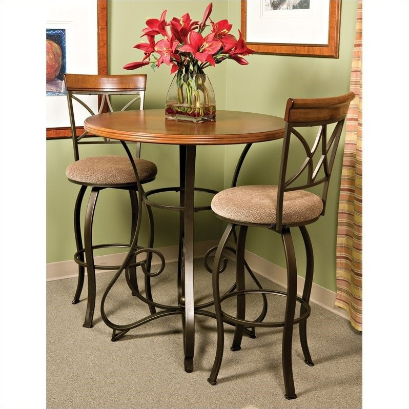 Powell Furniture Hamilton Pub Table in Matte Pewter and Bronze