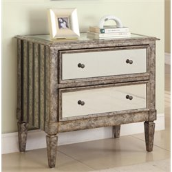 Powell Furniture 2 Drawer Mirrored Accent Chest in Antique Silver