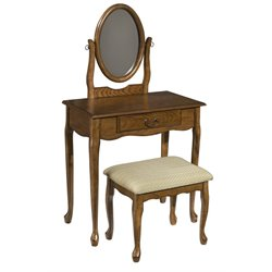 Powell Furniture Woodland Vanity and Bench Set in Oak