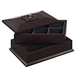 Powell Bombay Lyon Beveled Top Jewelry Box in Cognac Finish