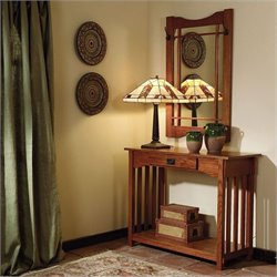 Powell Furniture Console Table and Mirror in Mission Oak
