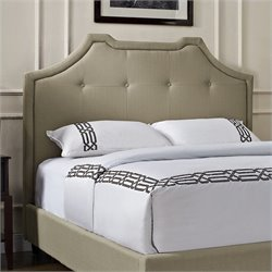 Powell Furniture Crown King Tufted Panel Headboard in Tan