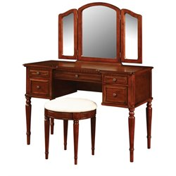 Powell Furniture Vanity Set in Warm Cherry