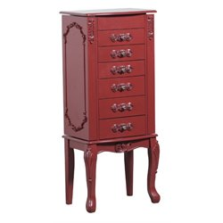 Powell Furniture Braelyn Jewelry Armoire in Red