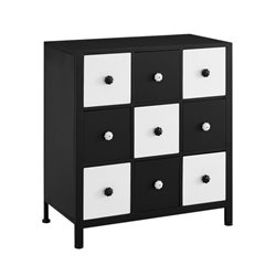 Powell Furniture Checkers Cabinet in Black and White