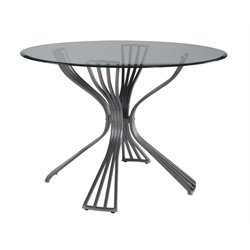 Powell Furniture Delgado Glass Top Round Dining Table in Metal