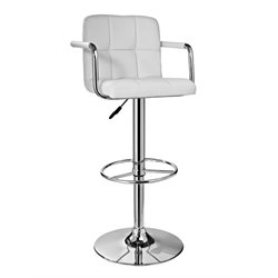 Powell Furniture Adjustable Swivel Bar Stool in Chrome and White