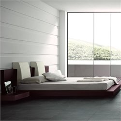 Rossetto New Win Floating Platform Bed Without Lights in Wenge