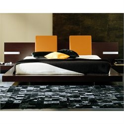 Rossetto New Win Floating Platform Bed With Lights in Wenge
