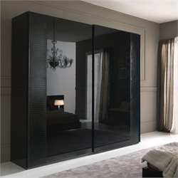 Rossetto Nightfly 2 Door Sliding Wardrobe in Black