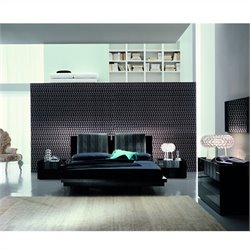 Rossetto Diamond Platform Bedroom Set in Black