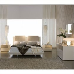 Rossetto Diamond Platform Bedroom Set in Ivory