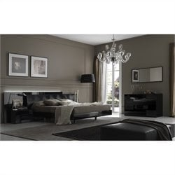 Rossetto Nightfly Platform Bedroom Set in Lacquer Black
