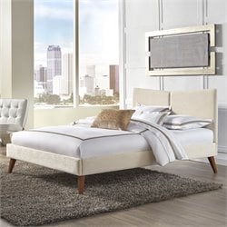 Fashion Bed Parkland Upholstered Platform Bed in Ivory
