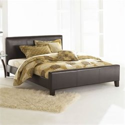 Fashion Bed Euro Leather Platform Bed in Sable Finish
