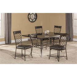 Brescello 5 Piece Faux Leather Dining Set in Charcoal