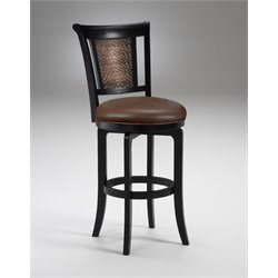 Cecily Faux Leather Bar Stool in Black Honey
