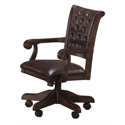 Hillsdale Chiswick Faux Leather Game Chair in Brown Cherry