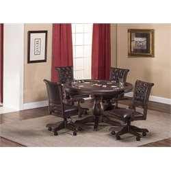 Hillsdale Chiswick 5 Piece Faux Leather Game Set in Brown Cherry