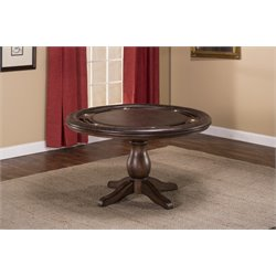 Hillsdale Chiswick Round Faux Leather Game Table in Brown Cherry