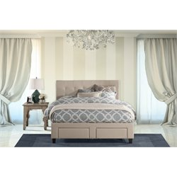 Duggan Upholstered Storage Panel Bed in Beige