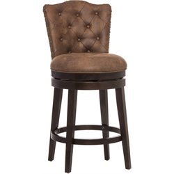 Edenwood Faux Leather Swivel Bar Stool in Chocolate