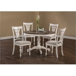 Hillsdale Embassy 5 Piece Round Dining Set in White