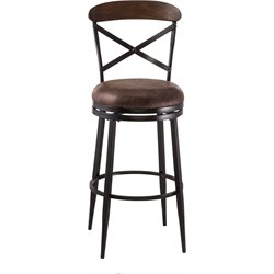 Henderson Faux Leather Swivel Bar Stool in Black