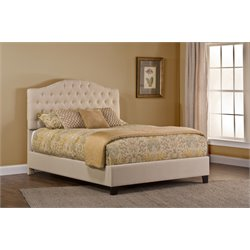 Jamie Upholstered Panel Bed in Beige