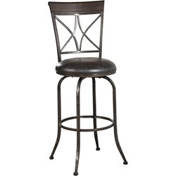 Killona Faux Leather Swivel Bar Stool in Antique Pewter
