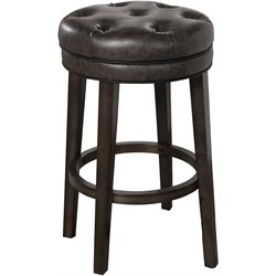 Krauss Faux Leather Swivel Bar Stool in Charcoal Gray