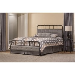 Langdon Upholstered Panel Bed in Rubbed Black (2)