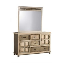 Hillsdale LaRose Mirror in Rustic White Gray