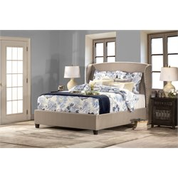 Lisa Upholstered Panel Bed in Beige