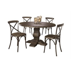 Lorient 5 Piece Dining Set in Washed Charcoal Gray