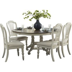 Pine Island Round Dining Set in Old White (2)