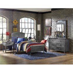 Hillsdale Urban Quarters Twin Panel Bedroom Set in Black Steel