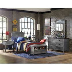 Hillsdale Urban Quarters Twin Panel Bedroom Set in Black Steel 2