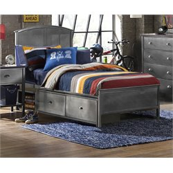 Urban Quarters Full Panel Storage Bed in Black Steel