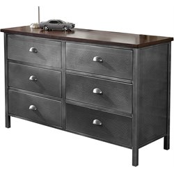 Hillsdale Urban Quarters 6 Drawer Dresser in Black Steel