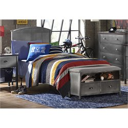 Urban Quarters Twin Panel Bed in Black Steel