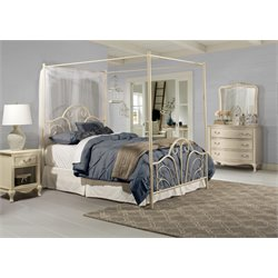 Hillsdale Dover Queen Metal Bed in Cream
