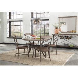 Hillsdale Emmons 5 Piece Round Dining Set in Washed Gray