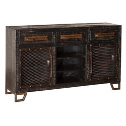 Hillsdale Bridgewater 5 Drawer Wine Rack Sideboard in Black Wood