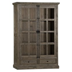 Hillsdale Tuscan Retreat Double Door Curio Cabinet in Aged Gray